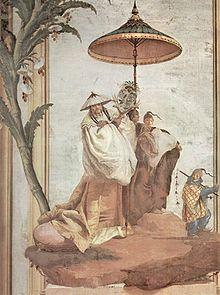 L'Occident reproduit les images de l'Orient : fresque italienne de Giovanni Domenico Tiepolo, 1757.